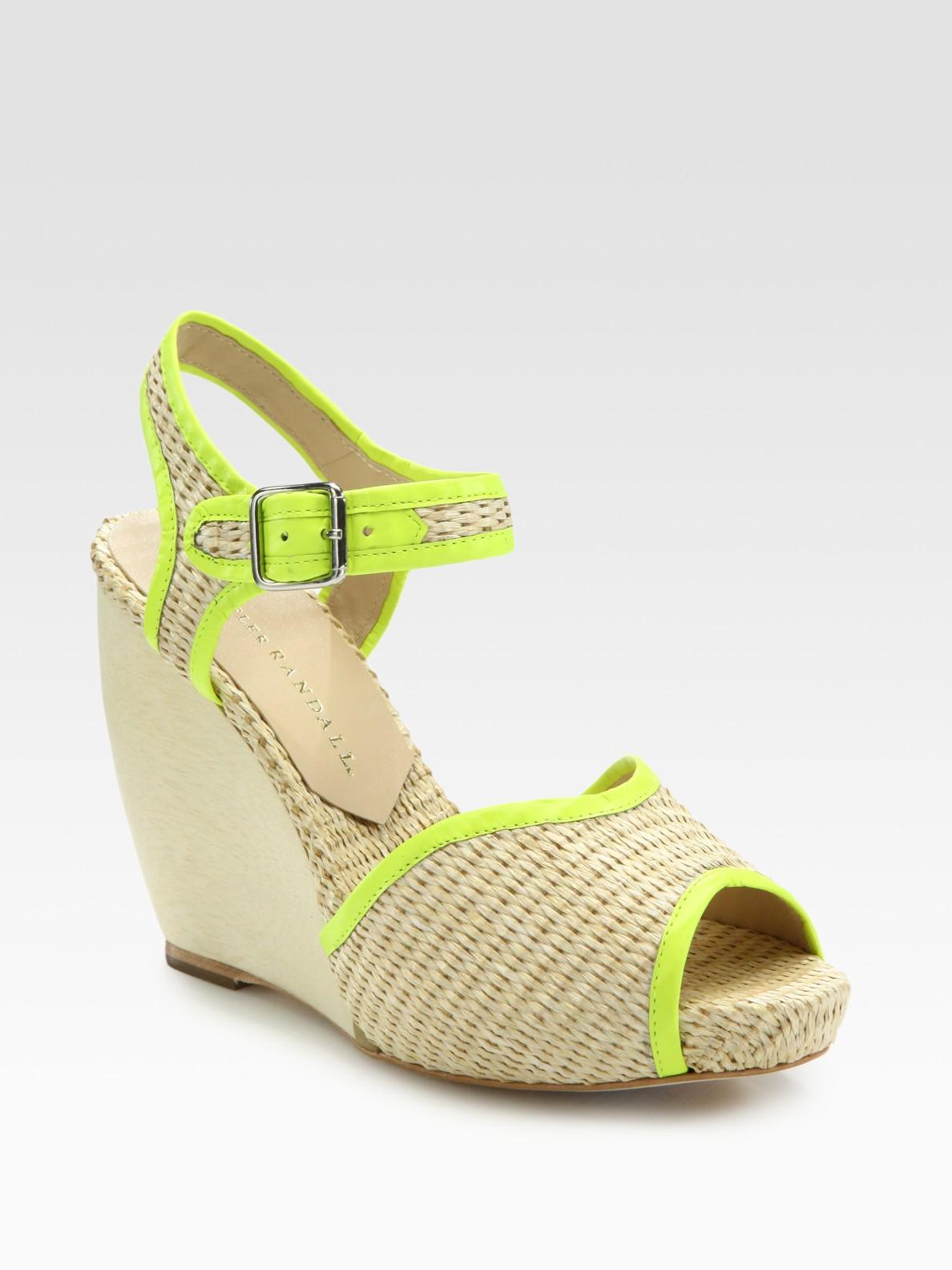 9e91bc53072 Lyst - Loeffler Randall Valentine Raffia Slingback Wedge Sandals in ...