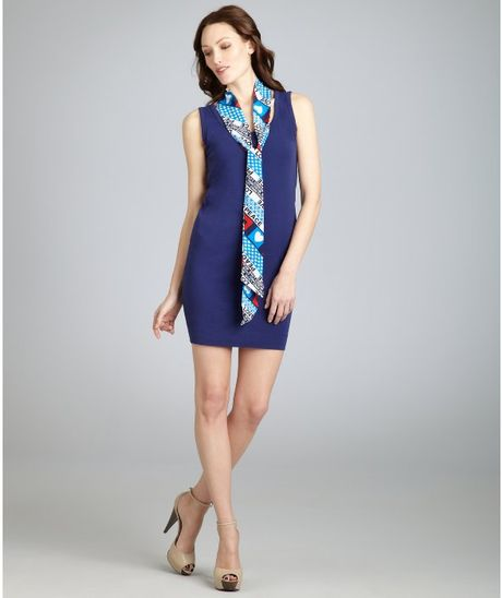Love Moschino Boysenberry Stretch Cotton and Peace Print Scarf Shift Dress in Blue