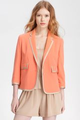 Robert Rodriguez Satin Trim Silk Jacket in Orange (coral) - Lyst