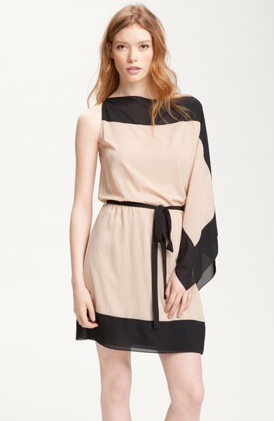 Robert Rodriguez Colorblock Cascade Sleeve Dress in Black (stone) - Lyst