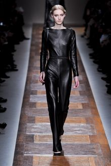 Valentino Fall 2012 Backless Leather Jumpsuit with Stitching at Waist - Lyst