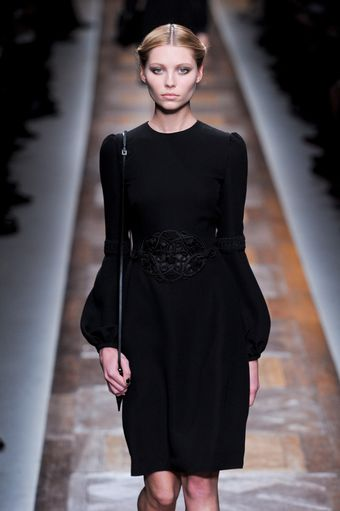 Valentino Fall 2012 Knee-Length Black Dress with Bell Sleeves and Waist Applique   - Lyst