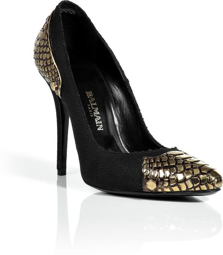 Balmain Black Canvas Pumps in Black - Lyst