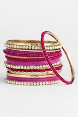 Cara Accessories Mixed Media Bangles in Gold (fuchsia/ gold) - Lyst