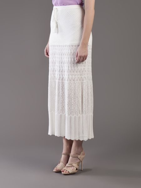 ronson crochet sweater maxi skirt in white lyst