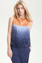 Rachel Roy Drape Back Ombré Colorblock Silk Top - Lyst
