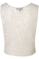 Topshop Premium Sequin Shell Top - Lyst