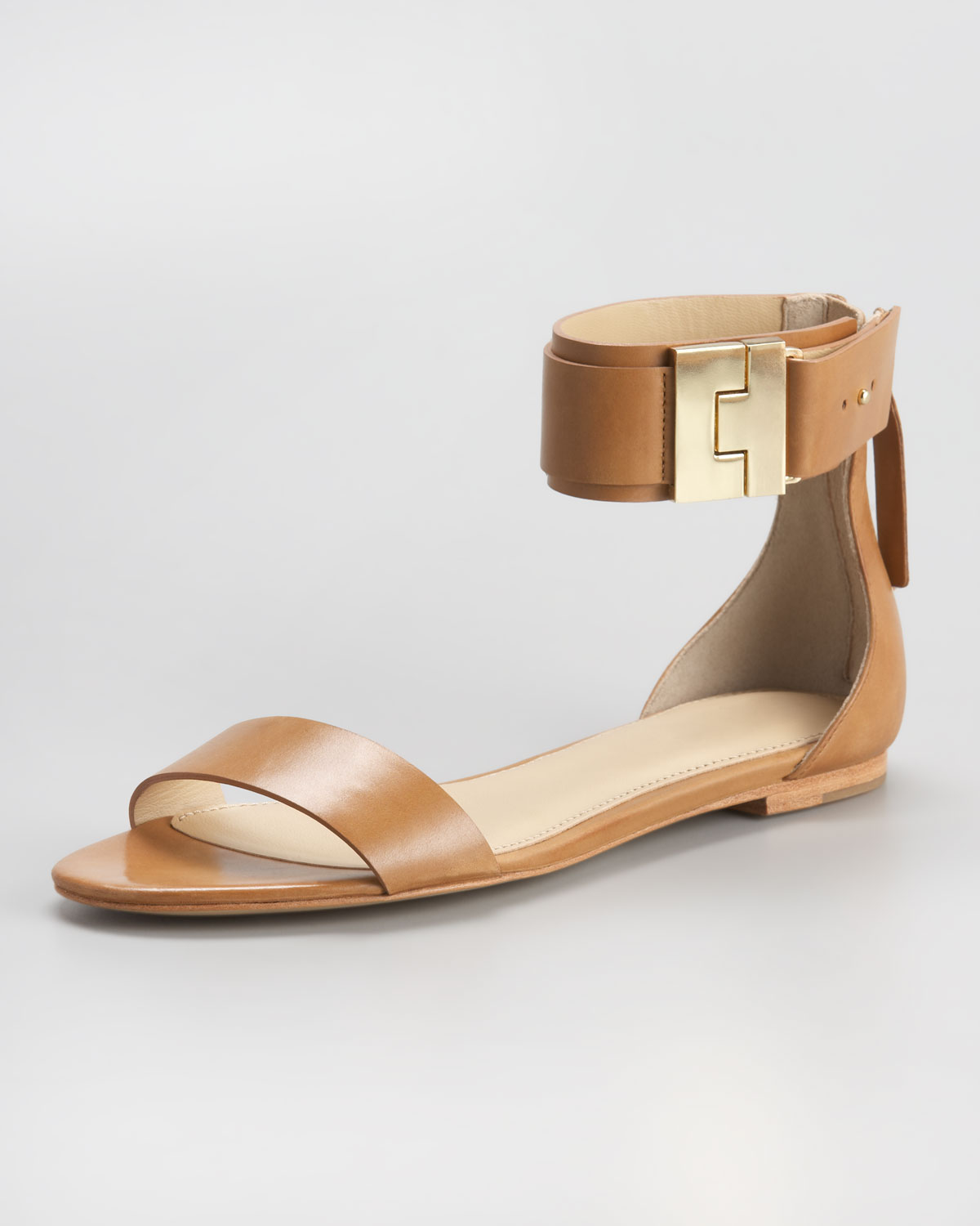 Beige Leather Flat Shoes