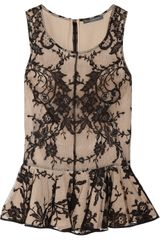 Alexander McQueen Lace and Silk Peplum Top - Lyst