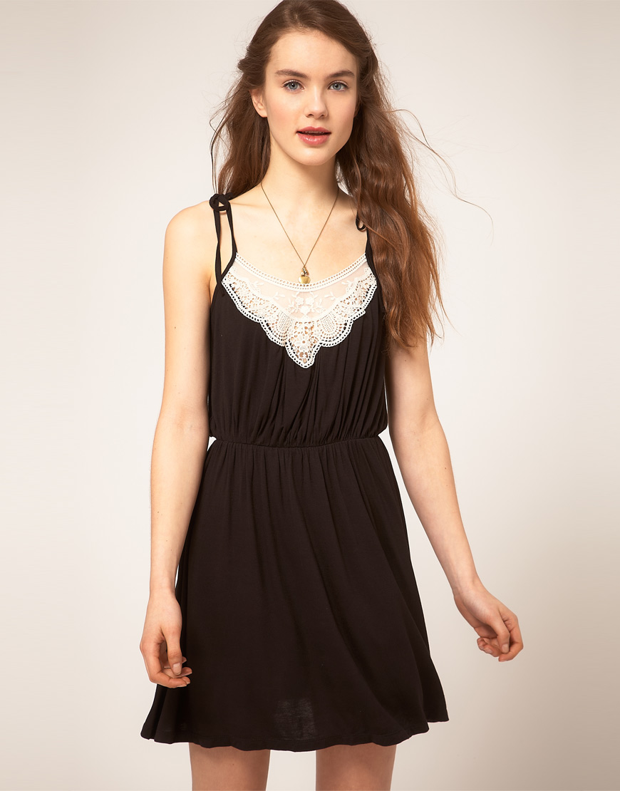 Asos Collection Asos Peplum Top In Sequin In Natural: Asos Collection Asos Crochet Insert Dress In Black