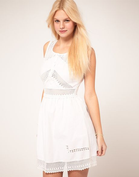 Asos Collection Asos Skater Dress with Crochet Trim in White - Lyst