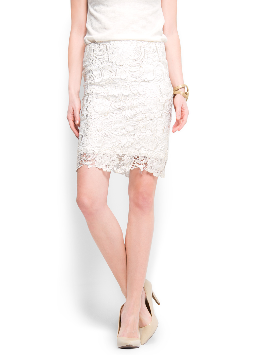 mango lace pencil skirt in white 10 lyst