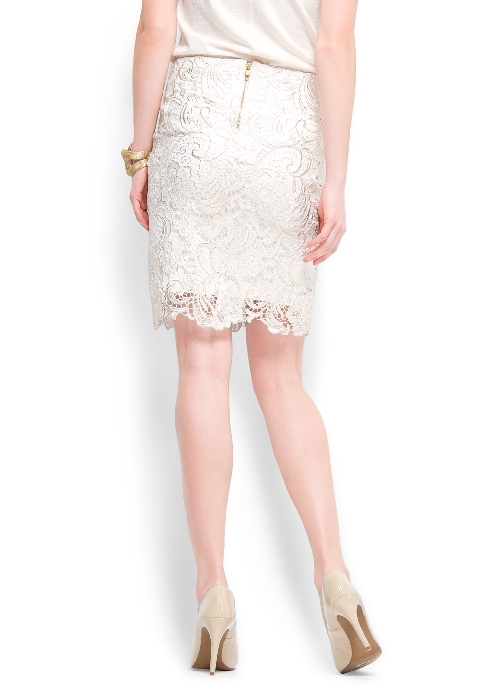 Mango Lace Pencil Skirt in White | Lyst