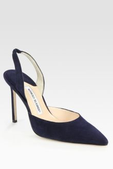 Manolo Blahnik Carolyne Suede Slingback Point Toe Pumps - Lyst
