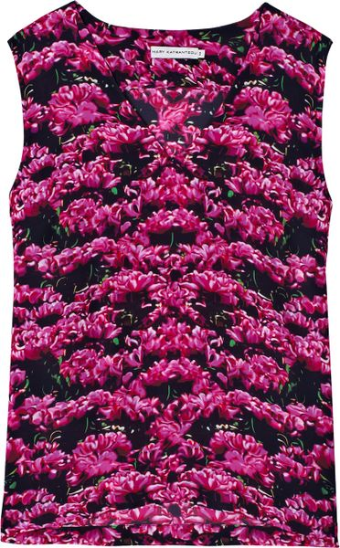 Mary Katrantzou Tulip V Neck Top in Pink (yellow) - Lyst