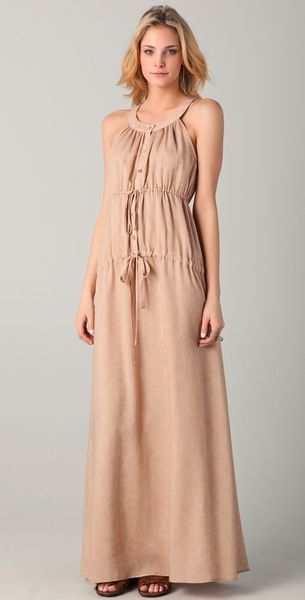 Obakki Briony Print Maxi Dress in Beige - Lyst