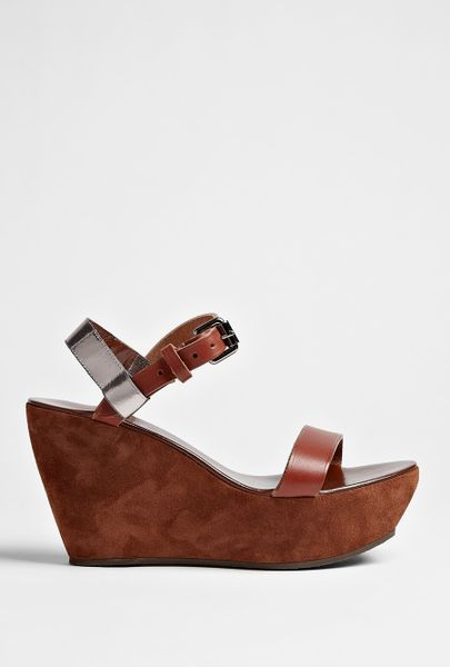 Acne Brown Estelle Wedge Sandal in Brown - Lyst