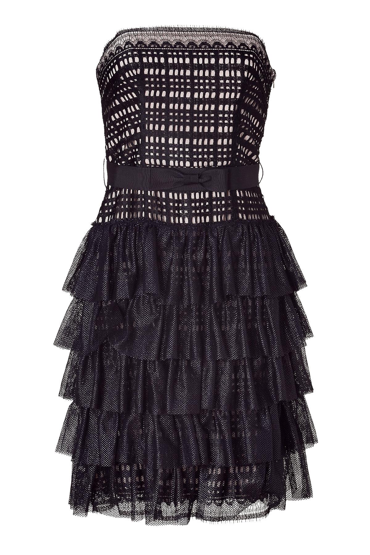 Collette Dinnigan Black Strapless Lace Dress in Black   Lyst