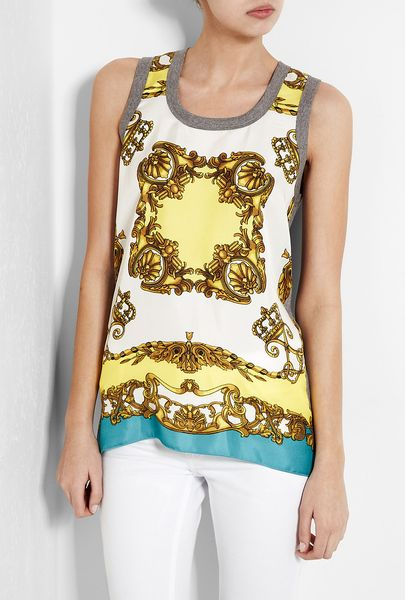 D&g  Scarf Print Jersey Tank in Yellow