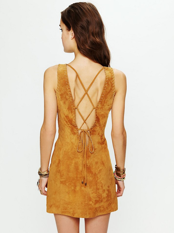Free People Suede Mini Dress With Lace Up Open Back In