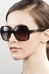 Gucci Sunglasses Logo Square Frame Sunglasses, Black - Lyst