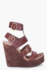 Pedro Garcia Brown Tex Wedges - Lyst