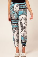River Island Scarf Printed Trouser in Blue (blueblack) - Lyst