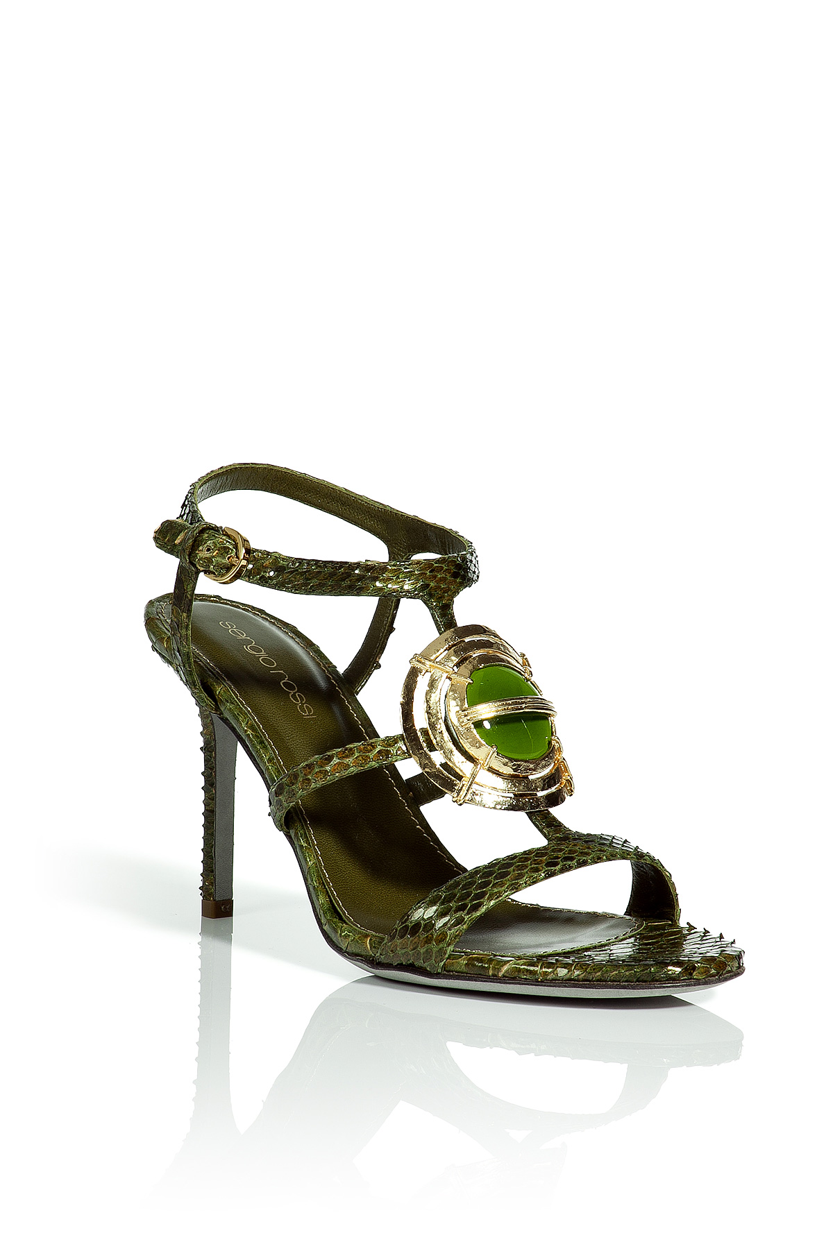 sergio rossi reed jewelry detailed sandals in green snake lyst. Black Bedroom Furniture Sets. Home Design Ideas
