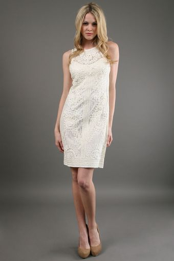 Sue Wong Seutache Embroidered Lace Dress in Ivory - Lyst