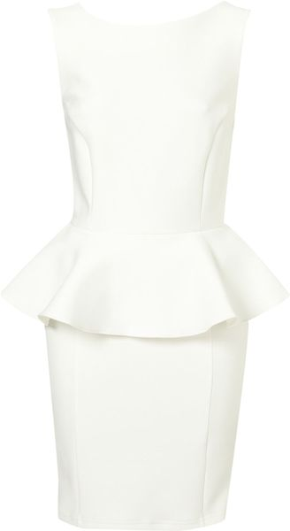 Topshop Peplum Scuba Pencil Dress in White (cream) - Lyst