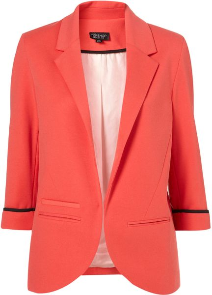 Topshop Ponte Boyfriend Blazer in Red (watermelon) - Lyst