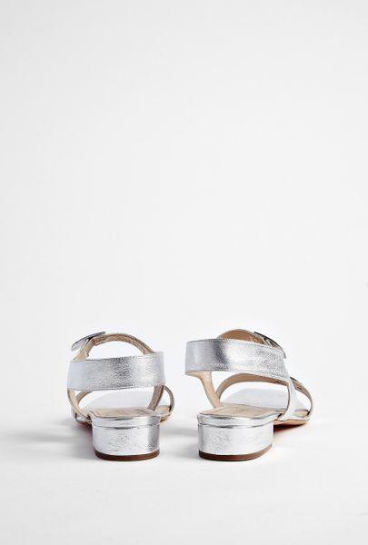 Vanessa Bruno Silver Block Heel Sandal In Silver Lyst