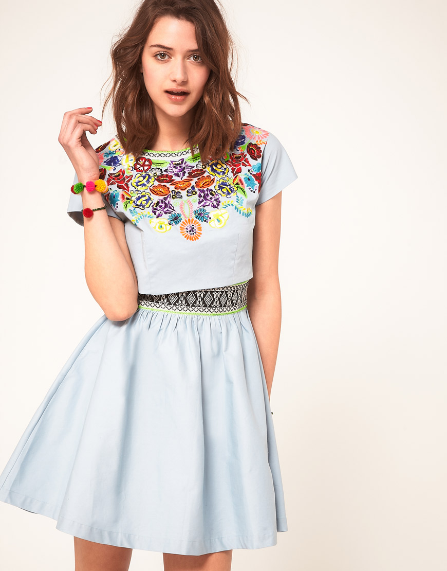 Lyst Asos Collection Asos Dress With Embroidered T Shirt