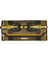 Burberry Prorsum Woven Leather and Cotton Clutch - Lyst