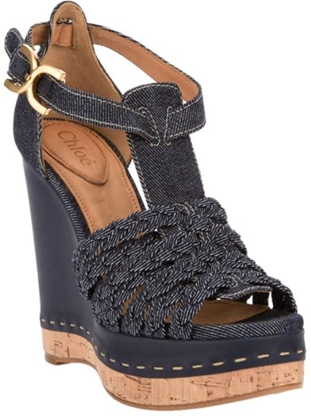 Chloé Denim Wedge Sandal in Blue (denim) - Lyst