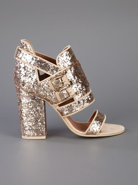 Givenchy Glitter Block Heel Sandal In Gold Lyst