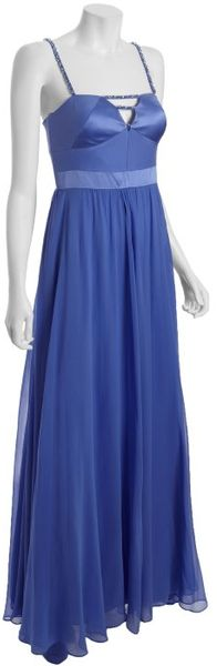 Hoaglund New York Blue Cloud Silk Beaded Strap Evening Dress - Lyst