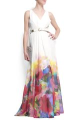 Mango Watercolor Flower Maxidress in White (10) - Lyst