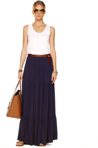 michael kors tiered maxi skirt womens navy in blue navy