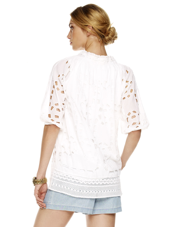 michael kors eyelet peasant blouse in white lyst. Black Bedroom Furniture Sets. Home Design Ideas