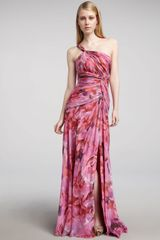 Ml Monique Lhuillier One-shoulder Floral-print Gown - Lyst