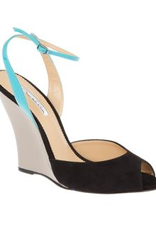 Oscar de la Renta Tri-colour Wedge Sandal - Lyst