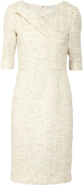 Oscar De La Renta Metallicflecked Tweed Dress in White (clay) - Lyst