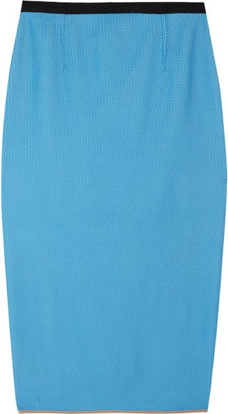 Roland Mouret Fine Plissécrepe Pencil Skirt in Blue - Lyst