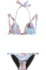 Seventh Wonderland Rever Marbled-print Triangle Bikini - Lyst