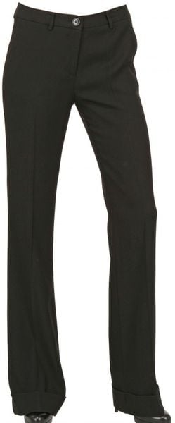 Space Crepe Cady Stretch Boot Cut Trousers in Black