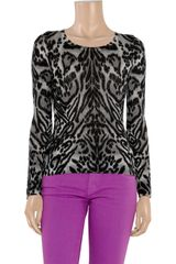 Temperley London Animalprint Merino Wool Sweater in Gray (black) - Lyst