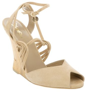 Yves Saint Laurent Peep Toe Wedge - Lyst
