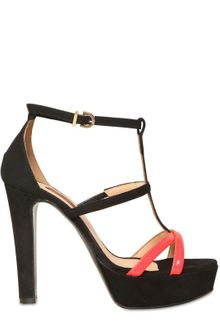 Chiara Ferragni Suede and Patent Leather Sandals - Lyst