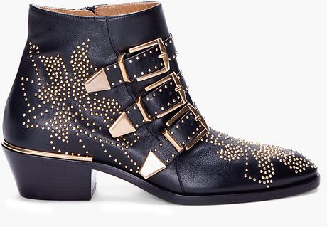 Chloé Black Studded Booties in Black - Lyst